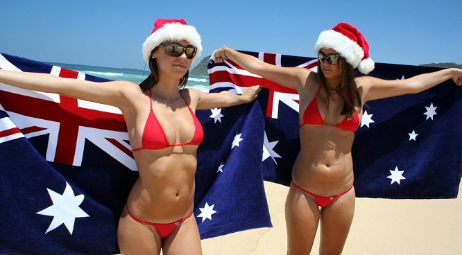 Chase Strippers in bikinis on Australia Day